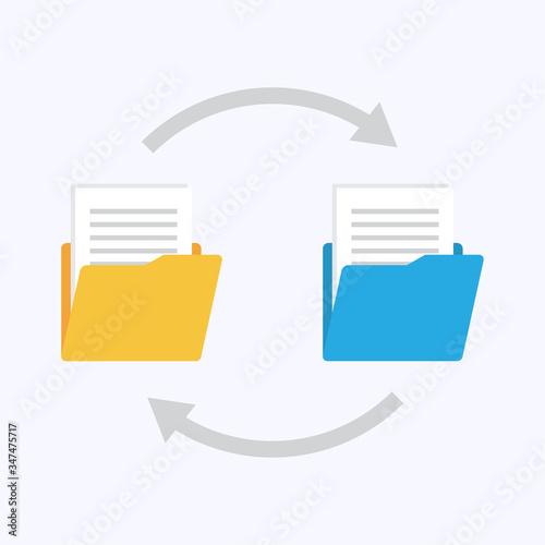 Files transfer. Copy files, data exchange, backup. Canvas Print