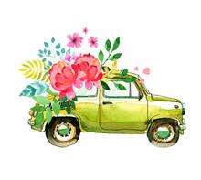 Retro Watercolor Green Car Wit...