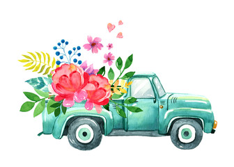 Vintage watercolor turquoise truck, spring summer illustration of old retro car with flower, leaves, heart