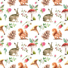 Pattern Of Watercolor Illustrations Forest Animals Mushrooms And Plants