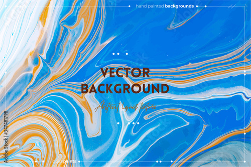 Fototapeta Fluid art texture. Abstract backdrop with iridescent paint effect. Liquid acrylic picture with artistic mixed paints. Can be used for baner or wallpaper. Blue, orange and navy blue overflowing colors obraz