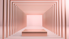 Abstract Scene With Golden Square Stage,podium Or Pedestal Over Pink Background In Tunnel Made Of Golden Shapes. B Cosmetics And Fashion Image. 3d Render