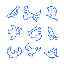 Dove Of Peace Icons Set. Flying Birds With Branch And Leaves, Peace Or Pacifism Concept. Free Flying Symbol, Simple Signs For Presentation, Training, Marketing, Web Design. Linear Vector Illustration