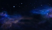 Deep Space, Starry Night Sky With Stars And Nebulae