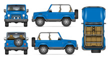SUV Convertible Car Vector Mockup For Vehicle Branding, Advertising, Corporate Identity. View From Side, Front, Back, Top. All Elements In The Groups On Separate Layers For Easy Editing And Recolor.