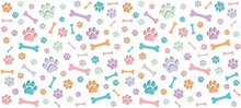 Seamless Endless Pattern Of Traces Of Dog Paws. Dog Legs And Bones. Children's Colorful Design. Blue, Orange, Purple, Mint Colours On White Background.