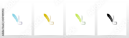 Cuadros en Lienzo Feather Quill On Letter Logo Design L