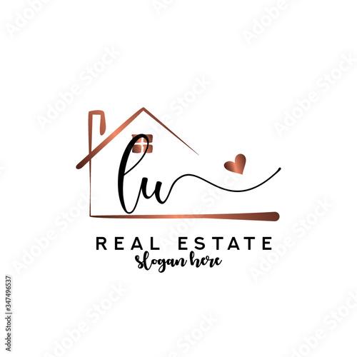Initial handwriting LU with Real estate logo concept, real estate logo, real estate branding. Fototapete