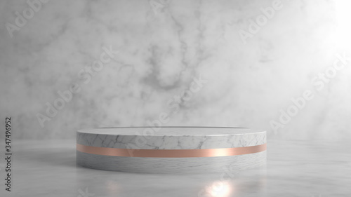 Obraz na plátně Abstract minimalist scene with round marble and copper stage, podium or pedestal in marble interior