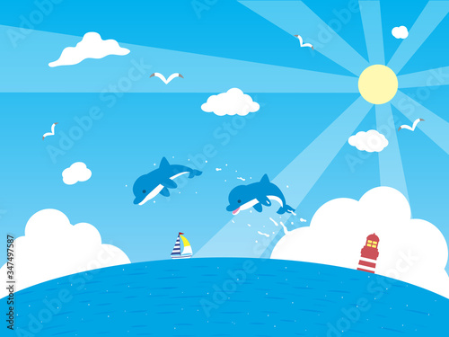 Fotomural イルカと海の背景イラスト