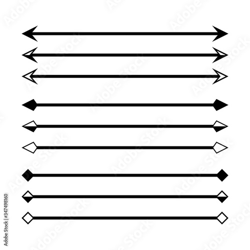 Photo arrow in horizontal line set isolated on white, arrow line for indicate the dime