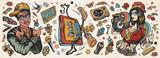 Fototapeta Młodzieżowe - Hip hop music. Old school tattoo collection. African American man rapper in baseball cap and glasses, Rap girl, swag woman, boom box. Audio cassette, break dance. Tattooing musical street ghetto