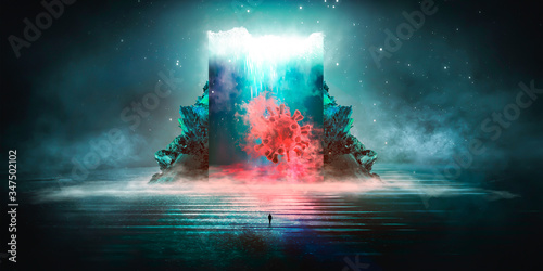 Fototapeta Abstract futuristic scene with the Covid-19 virus. Dark night background with neon light. Futuristic landscape. Virus, smoke, smog, neon light. 3D illustration. obraz