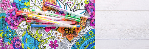 Canvas Print Adult coloring book, stress relieving trend