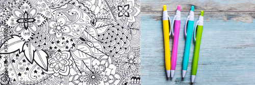 Obraz na plátne Adult coloring book, stress relieving trend