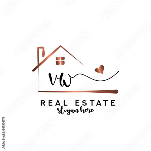 Photo Initial handwriting VW with Real estate logo concept, real estate logo, real estate branding