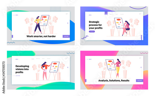 Fototapety, obrazy: Business Presentation, Workflow Algorithm Landing Page Template Set. Businesswoman Female Character at Whiteboard with Mindmap Charts in Office. Financial Couch Seminar. Cartoon Vector Illustration