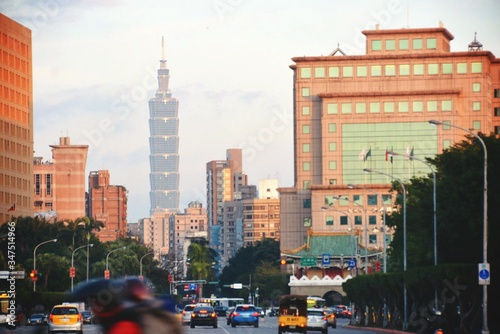 Taipei 101 And Cityscape Seen From Street Canvas Print