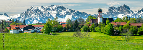 Fototapeta panoramic landscape in Bavaria nearby town Seeg in Allgaeu