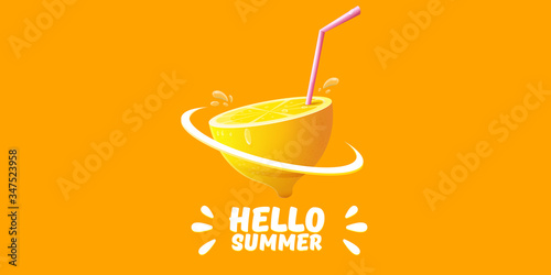 Vector Hello Summer Beach Party horizontal banner Design template with fresh lemon isolated on orange background. Hello summer concept label or poster with orange fruit and typographic text. - 347523958