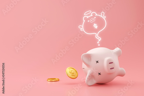 Fototapeta Piggy bank and golden coins on pink background with lost money concept. Financial planning for the future. 3D rendering. obraz