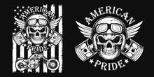 American Pride - Motorcycle T-...