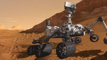 Animation Of Mars Exploring Rover Surrounded By Red Sands And Rocks Of The Planet Mars Surface. Contains Public Domain Image By NASA