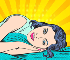 A woman going to bed to rest. Pop art retro illustration comic style vector.