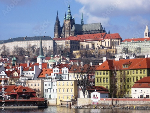 Fototapety, obrazy: St Vitus Cathedral With Cityscape Against Sky