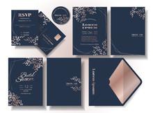 Set Of Rose Gold Leaf Pattern Wedding Invitation Card Dark Blue Tone Background .rsvp Card. Envelope. Suitable For Wedding Couple. Illustration/vector