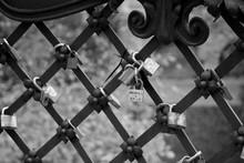 Close-up Of Love Locks Hanging On Railing