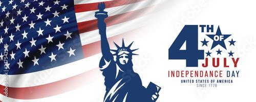 Fotografie, Obraz 4th of July, USA celebration of Independence day -  Banner illustration