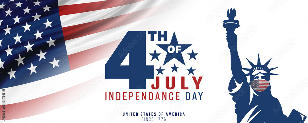 Fototapeta 4th of July, USA celebration of Independence day -  Banner illustration