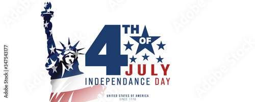 Carta da parati 4th of July, USA celebration of Independence day -  Banner illustration