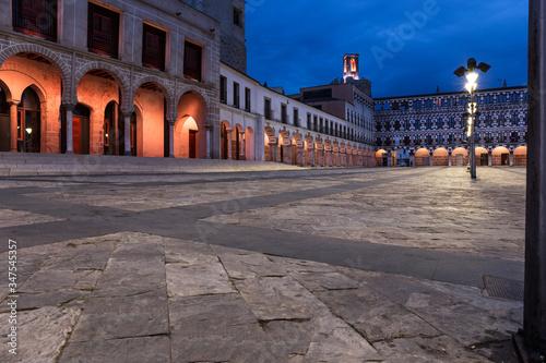Night landscape of the Plaza Alta de Badajoz, Extremadura, Spain
