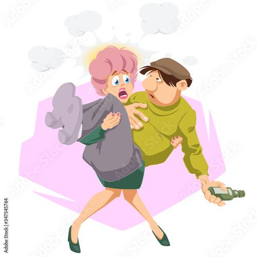 Woman carry drunken man. Funny people. Canvas-taulu