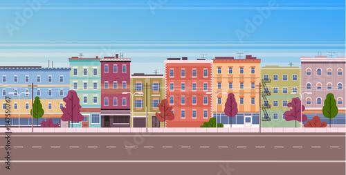City facade buildings town street panorama concept. Vector flat graphic design cartoon illustration