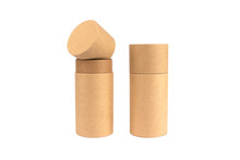 Open And Closed Paper Tubes, Cardboard Containers For Packaging Isolated On White Background With Copyspace, Mockup