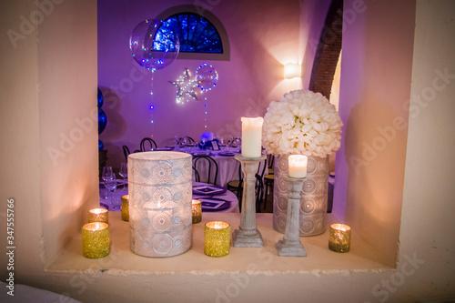 Fototapeta lighted candles that heat the Arab-style home obraz