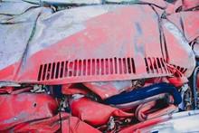 Full Frame Shot Of Damaged Red Car