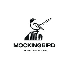 Mockingbird Logo Design. Awesome A Mockingbird Silhoutte. A Mockingbird Logotype.
