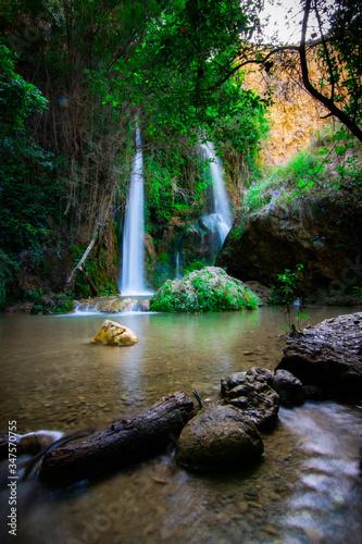 cascada doble con piedras y tronco Wall mural