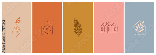 Vector set of abstract logo design templates in simple linear style - cozy home emblems, houses and plants stay at home