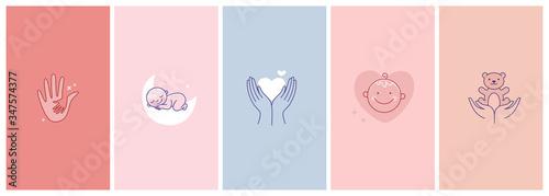 Vector set of abstract logo design templates in simple linear style - motherhood Fototapeta