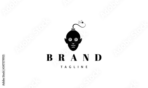 Vector logo on which an abstract image of a human head in the form of a bomb with a wick Canvas Print