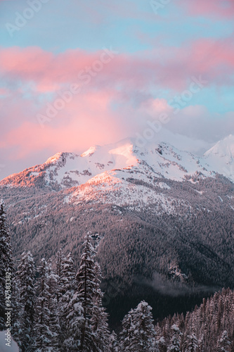 Mountains in the North Cascades of Washington State At sunset during winter