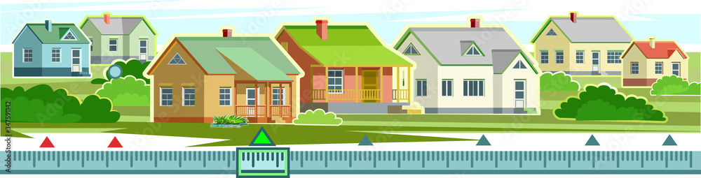 Fototapeta Countryside houses vector scenery. Rent, purchase, sale of housing, houses. Country side village. Rural street, homes. Settlement. Suburban Landscape, Skyline. Cottages with plots. Background image.