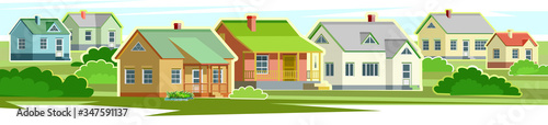 Fotografie, Obraz Countryside houses vector landscape
