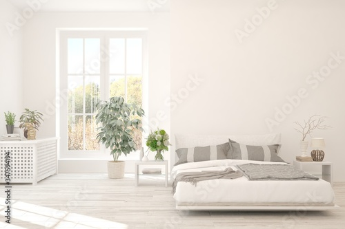 Valokuva White bedroom interior. Scandinavian design. 3D illustration