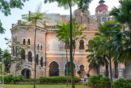 Backyard and garden of the Sultan Abdul Samad Building, build 1897 in Mughal arc Canvas Print